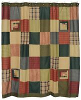 Green Log Cabin Patchwork Shower Curtain Tea Cabin Blue Burgundy Red Tan Cotton