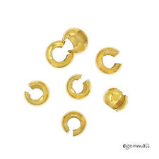 30 Gold Plated Sterling Silver Knot Cover Crimp Beads FOR 3.0mm Knot #99565