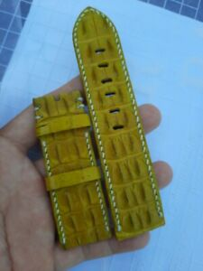 YELLOW HORNBACK GENUINE ALLIGATOR CROCODILE SKIN LEATHER WATCH BAND STRAP 26mm