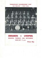 CRUSADERS v LIVERPOOL 28th September 1976 EUROPEAN CUP