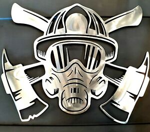 Garage DECOR  Fireman Mask Ax Raw Steel 16x20 Metal Man cave Wall Art Sign Gift