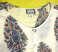 Peter Dunham Lucky Brand Crinkled Coverup Paisley Floral Crop Tie Waist Top SZ M