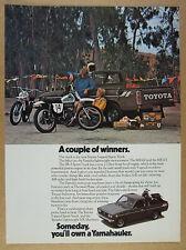 1975 Toyota SR5 Pickup Truck Yamaha MX Motocross Motorcycles vintage print Ad