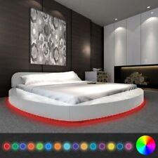 vidaXL Bedframe met LED Rond Kunstleer Wit 180x200 cm Bed Frame Ledikant