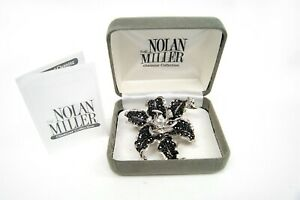 Nolan Miller Glamour Collection MIDNIGHT LILY Black & Clear Pave Rhinestone Pin