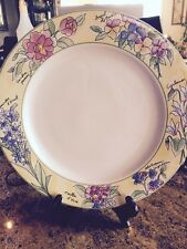 """Furio Creme Brulee Round Chop Plate Platter Yellow Rim Flowers Floral 121/2"""""""