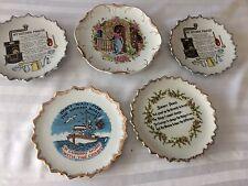 Vintage Prayer Wall Plates Decor Porcelain Gold Trim, Religious , 5 plates