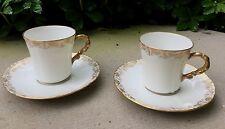 (2) Antique L.S & S Limoges France Demitasse Cup & Saucer Sets White Gold