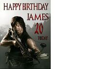 WALKING DEAD-DARYL-ZOMBIE-ANY AGE-ANY NAME A5 PERSONALISED BIRTHDAY CARD