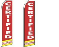Certified Pre-Ow King Size  Swooper Flag  sign Pack of 2  (HARDWARE NO INCLUDED)