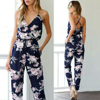 Womens Loose Fashion Evening Party Playsuit Ladies Floral Long Jumpsuit Trousers