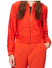Debenhams Preen-edition Dark Orange Lace Bomber Jacket Size 14 Lsls076 AA 17
