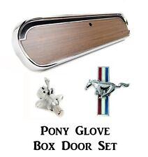 1964-66 Mustang Pony Woodgrain Glove Box Door + Latch + Running Pony Door Emblem
