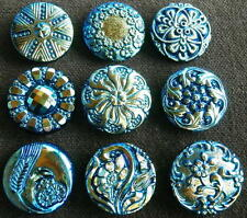"Collection of 9 Czech ANTIQUE (1920's) Glass Buttons #D354 - 22 mm - 7/8"" - RARE"