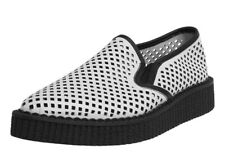 TUK White Perforated Pointed Slip-on Platform Creepers Unisex Size 10, (8 Men's)