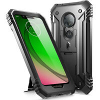 Rugged Kickstand Case For Moto G7 Play,Poetic Dual Layer Shockproof Cover Black