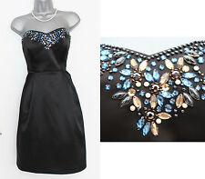 MONSOON Black Satin Celine Embellished Strapless Party Cocktail Dress UK 12 £149