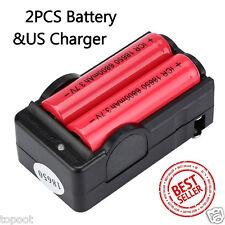 2PCS 3.7V 6800mAH Li-ion Rechargeable 18650 Battery+Dual US Plug Smart Charger
