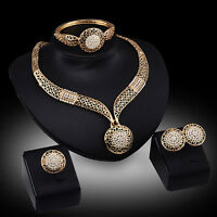 Gold Schmuck Set Strass Halskette Ohrringe Armband Ring Brautschmuck Hochzeit NE