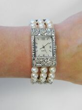 Ladies Dressy Watch Pearl Beaded Jewelry Bracelet Watch Mother Of Pearl Face New