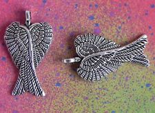20 Angel Wings Double Crossed Bird Feather Closed Silver Metal Charms Pendants