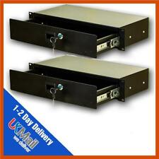 2 x Pulse 19inch 2u Locking Rack Drawers - Studio Storage, Microphone Storage