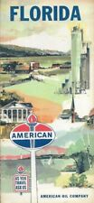 1961 AMERICAN OIL COMPANY Road Map FLORIDA Fort Lauderdale Miami Rand McNally