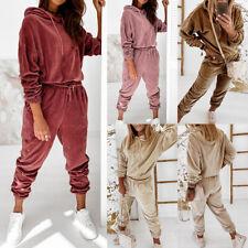 Samt Trainingsanzug Hoodie Damen Sweatshirt Hose Sportanzug Fitness Jogginganzug