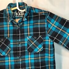 77 KIDS American Eagle Plaid Flannel Shirt Cotton XL 14 Teal Blue Orange Black