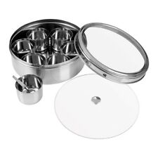 Round Stainless Steel Indian Spice Container Box 7 Storage Dishes With Spoon New