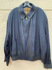 ZILLI LUXURIOUS SILK BOMBER JACKET W/ LEATHER TRIM MADE IN FRANCE SZ 58