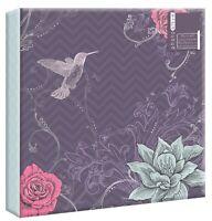 "Purple Flowers Photo Album 200 4x6"" 104 5x7"" 80 4x6"" Photos or Self Adhesive"