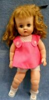 "Vntg-Horsman RUTHIE 16""DOLL1940-50s One-piece rubber body,sleepEyes,doll squeaks"