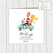 Personalised Wedding Anniversary Card Scooter Couple Vespa Lammy Wife / Husband