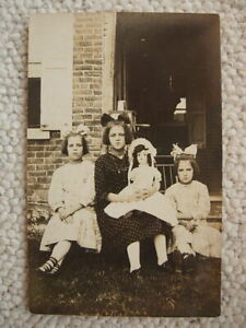 RPPC-THREE GIRLS WITH PORCELAIN DOLL-REAL PHOTO