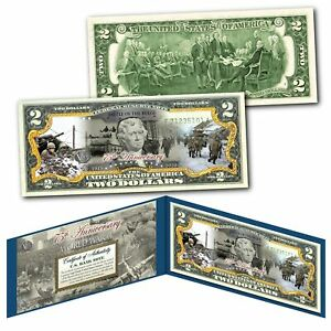 BATTLE OF THE BULGE - End of WWII 75th Anniversary V75 - Authentic $2 U.S. Bill