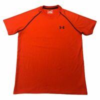 UNDER ARMOUR Heatgear Mens Loose Active Short Sleeve Tee Shirt Orange Red Small