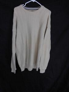 Men's Beige Cotton Knit Sweater By Roundtree & Yorke Size XL