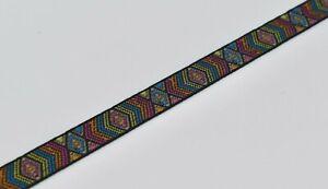 15mm Colourful Jacquard Geometric Ribbon Trim per metre