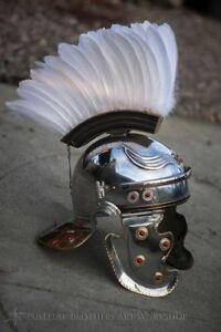 16ga Brass & Steel Medieval Late Roman Gallic Helmet With White Eagle Plume