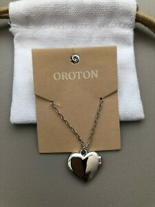 OROTON LUCY HEART LOCKET SILVER BRAND NEW WITH TAGS