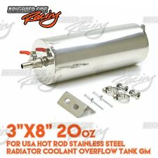 """3""""X8"""" 20OZ FOR USA HOT ROD STAINLESS STEEL RADIATOR COOLANT OVERFLOW TANK GM"""