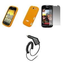 HTC myTouch 4G Orange Soft Silicone Case+Screen Protector+Car Charger