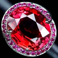 PINK ORANGE SAPPHIRE RING SZ 6.75 OVAL 22.20 CT.RUBY 925 STERLING SILVER JEWELRY