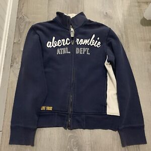 Abercrombie Athletic Boys Sweatshirt Sz L Navy Blue Zip Front Athletic Dept ZB46