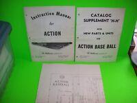 Williams ACTION BaseBall Original 1971 Arcade Pinball Game Schematic + Manual