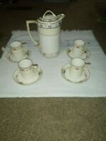 Nippon hand painted teapot With 5 Cups and Saucers with 1 extra Saucer
