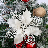 6x Christmas Artificial Flowers Glitter Xmas Tree Ornament Home Party Gift Decor