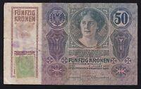 YUGOSLAVIA --- SHS --- 50  KRONEN  1914 -- GREEN STAMP + SEAL -- SERBIA ----