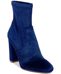 New Steve Madden Women's Brisk Velvet Block-Heel Sock Booties